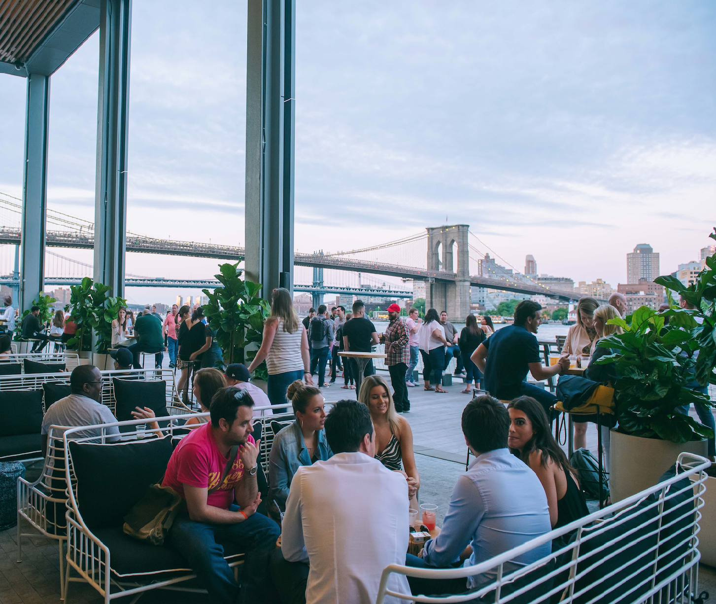 One of the daily draws to the Seaport District is Pier 17's Heineken Riverdeck and River Lounge.